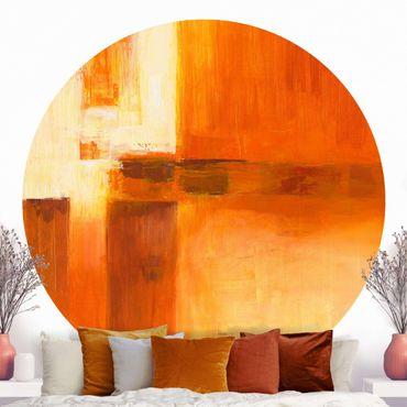 Runde Tapete selbstklebend - Komposition in Orange und Braun 01
