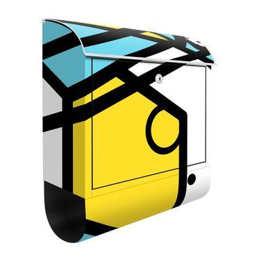 Briefkasten - Komposition Neo Memphis Gelb und Blau