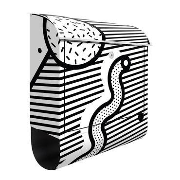Briefkasten - Komposition Neo Memphis Schwarz Weiß