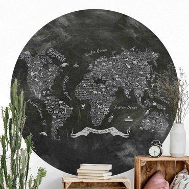 Runde Tapete selbstklebend - Kreide Typografie Weltkarte