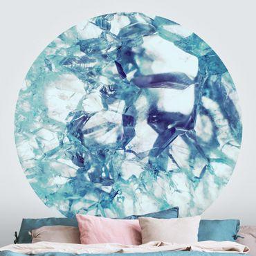 Runde Tapete selbstklebend - Kristall Blau