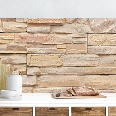 Küchenrückwand - Asian Stonewall - Große helle Steinmauer aus wohnlichen Steinen