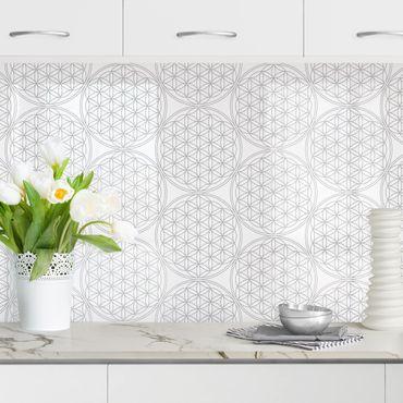 Küchenrückwand - Blume des Lebens Pattern silber