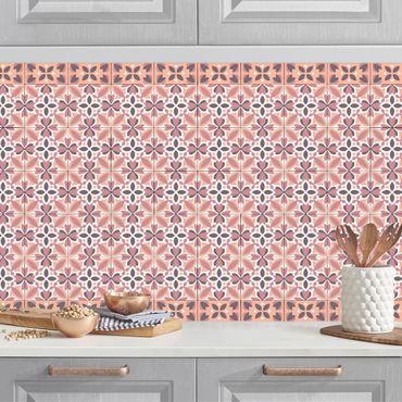 Küchenrückwand - Geometrischer Fliesenmix Blüte Orange
