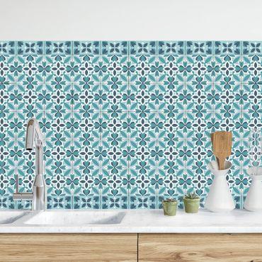 Küchenrückwand - Geometrischer Fliesenmix Blüte Türkis