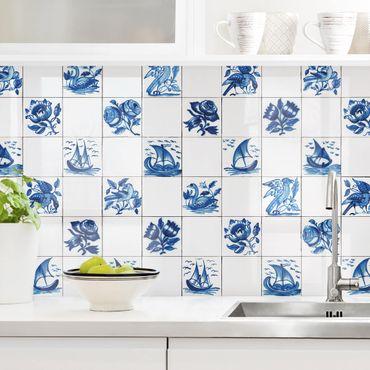 Küchenrückwand - Handgemalte Fliesen mit Blumen, Schiffen und Vögeln