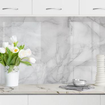 Küchenrückwand - Marmoroptik Schwarz Weiß