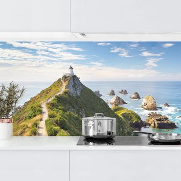 Küchenrückwand - Nugget Point Leuchtturm und Meer Neuseeland