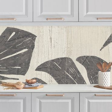 Küchenrückwand - Palmenblätter vor Hellgrau
