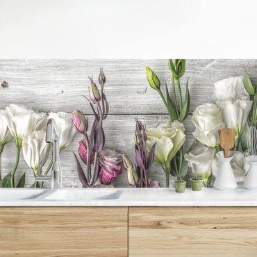 Küchenrückwand - Tulpen-Rose Shabby Holzoptik