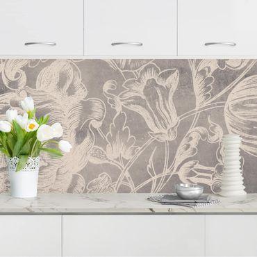 Küchenrückwand - Verblühtes Blumenornament I
