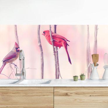 Küchenrückwand - Vögel auf Zweigen