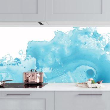 Küchenrückwand - Welle Aquarell Türkis I