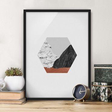 Bild mit Rahmen - Kupferberge Geometrie im Hexagon - Hochformat