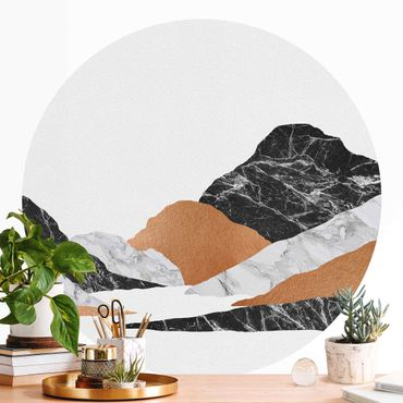 Runde Tapete selbstklebend - Landschaft in Marmor und Kupfer II