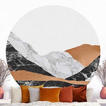 Runde Tapete selbstklebend - Landschaft in Marmor und Kupfer