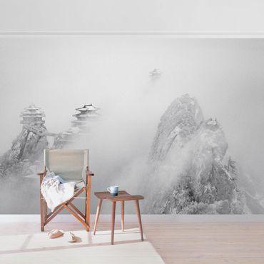 Metallic Tapete  - Laojun Berge in China Schwarz-weiß