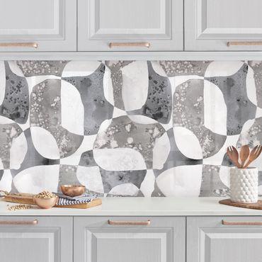 Küchenrückwand - Lebende Steine Muster in Grau