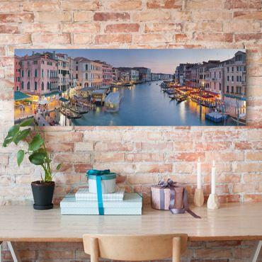 Leinwandbild - Abendstimmung auf Canal Grande in Venedig - Panorama Quer