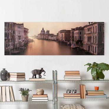Leinwandbild - Abendstimmung in Venedig - Panorama Quer