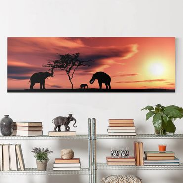 Afrika Leinwandbild African Elefant Family - Rot, Schwarz, Panorama Quer