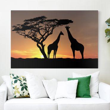 Afrika Leinwandbild African Sunset - Giraffen, Gelb, Schwarz, Quer 3:2