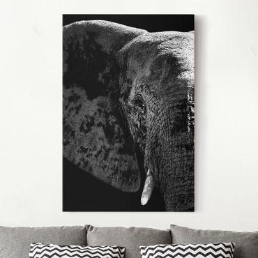 Leinwandbild Schwarz-Weiß - Afrikanischer Elefant schwarz-weiß - Hoch 2:3