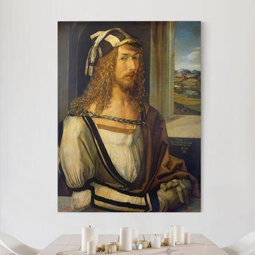 Leinwandbild - Albrecht Dürer - Selbstbildnis mit Landschaft - Hoch 3:4