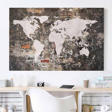Leinwandbild - Alte Mauer Weltkarte - Quer 3:2