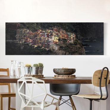 Leinwandbild - Angestrahltes Manarola - Panorama Quer
