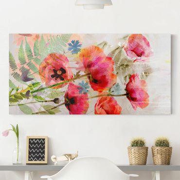 Leinwandbild - Aquarell Blumen Mohn - Quer 2:1