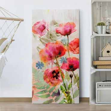 Leinwandbild - Aquarell Blumen Mohn - Hoch 1:2