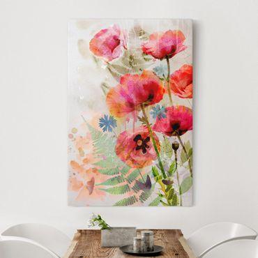 Leinwandbild - Aquarell Blumen Mohn - Hoch 2:3