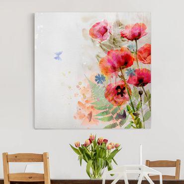 Leinwandbild - Aquarell Blumen Mohn - Quadrat 1:1