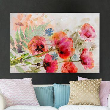 Leinwandbild - Aquarell Blumen Mohn - Quer 3:2
