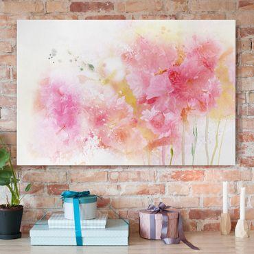 Leinwandbild - Aquarell Blumen Pfingstrosen - Quer 3:2