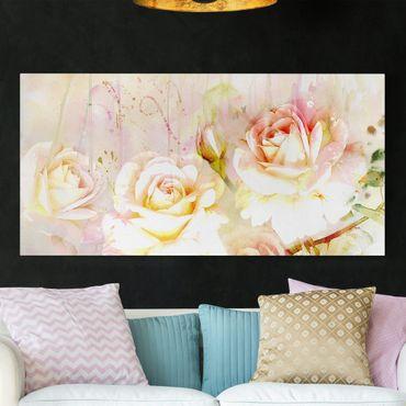 Leinwandbild - Aquarell Blumen Rosen - Quer 2:1