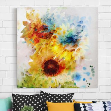 Leinwandbild - Aquarell Blumen Sonnenblumen - Quadrat 1:1