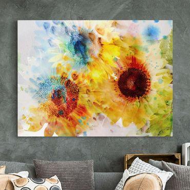 Leinwandbild - Aquarell Blumen Sonnenblumen - Quer 4:3