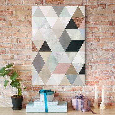 Leinwandbild - Aquarell-Mosaik mit Dreiecken I - Hochformat 3:2