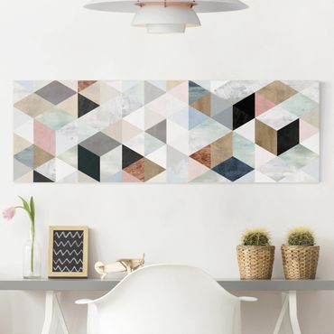 Leinwandbild - Aquarell-Mosaik mit Dreiecken I - Panorama 1:3