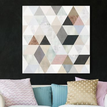 Leinwandbild - Aquarell-Mosaik mit Dreiecken I - Quadrat 1:1