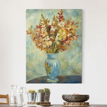 Leinwandbild - Auguste Renoir - Gladiolen in einer blauen Vase - Hoch 3:4