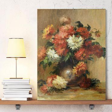 Leinwandbild - Auguste Renoir - Stilleben mit Dahlien - Hoch 3:4