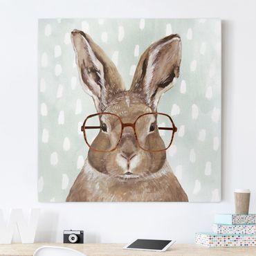 Leinwandbild - Bebrillte Tiere - Hase - Quadrat 1:1
