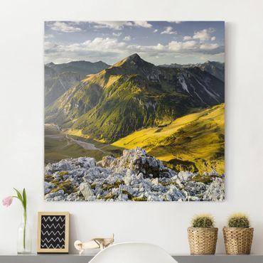 Leinwandbild - Berge und Tal der Lechtaler Alpen in Tirol - Quer 3:2