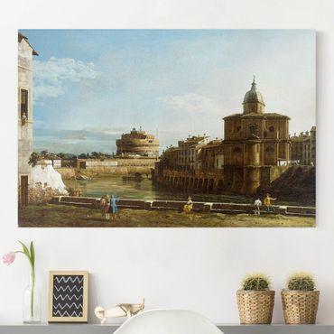 Leinwandbild - Bernardo Bellotto - Ansicht Roms am Ufer der Tiber, mit der Kirche San Giovanni dei Fiorentini im Hintergrund - Quer 3:2