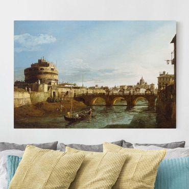 Leinwandbild - Bernardo Bellotto - Ansicht Roms in Richtung Westen, mit Booten auf dem Tiber und dem Castel Saint'Angelo in der Ferne - Quer 3:2