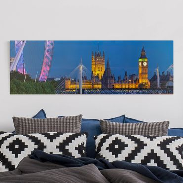Leinwandbild - Big Ben und Westminster Palace in London bei Nacht - Panorama Quer