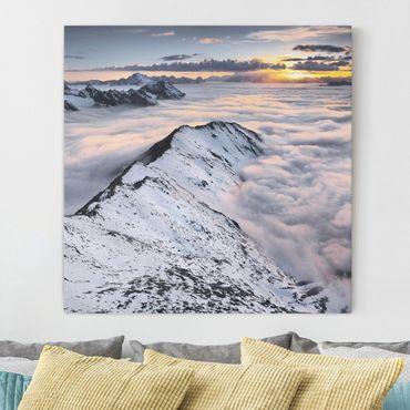 Leinwandbild - Blick über Wolken und Berge - Quadrat 1:1
